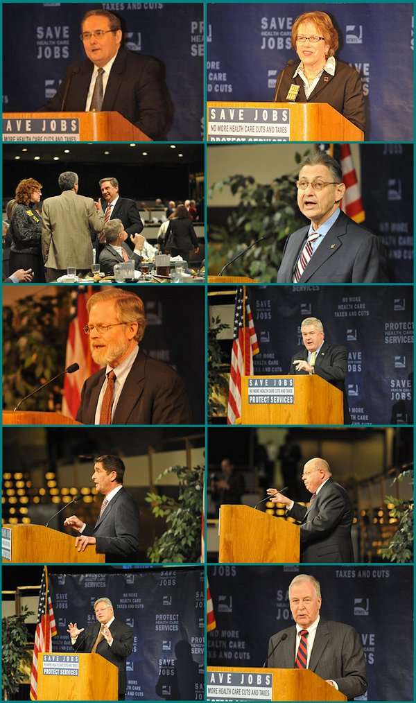 Pictured at Leadership Advocacy Day (clockwise from top left): HANYS Chair Joseph Quagliata, HTNYS Chair Sarah Schermerhorn, Assembly Speaker Sheldon Silver, Assembly Minority Leader Brian M. Kolb, Senate Finance Committee Chair Carl Kruger, Senate Health Committee Ranking Republican Kemp Hannon, Senate Health Committee Chairman Thomas Duane, Senate Deputy Majority Leader Jeffrey Klein, Assembly Health Committee Chair Richard Gottfried, and HANYS President Daniel Sisto discussing advocacy with members at the luncheon.