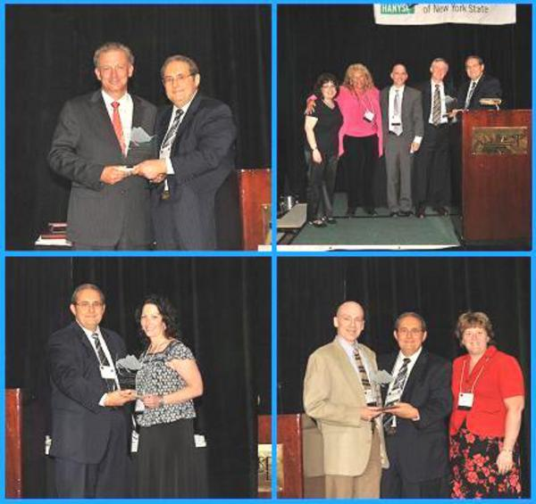 HANYS' Board Chairman Joseph Quagliata presents the Pinnacle Award to (pictured clockwise from top left): (1) Joseph Conte, Executive Vice President of Corporate Services, on behalf of Catholic Health Services of Long Island; (2) David Bernard, M.D., Chief Medical Officer and Executive Vice President; Brian Koll, M.D., Medical Director and Chief, Infection Control and Hospital Epidemiologist; and nurses Marie Moss-Crispino and Alexis Raimondi, on behalf of Beth Israel Medical Center; (3) Philip Mehl, Administrator; and Christine Jones, Director of Nursing, on behalf of Mountainside Residential Care Center; and (4) Maura Snyder, Wound Center Director, on behalf of Clifton Springs Hospital and Clinic.