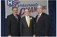 On May 8 in Washington, D.C., AHA recognized New York's grassroots advocate of the year: William Streck, M.D., President and Chief Executive Officer (CEO) of Bassett Health Network in Cooperstown. Dr. Streck is pictured with HANYS President Daniel Sisto (left) and AHA President Richard Umbdenstock (right).