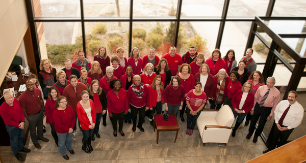 HANYS' staff celebrate National Wear Red Day on February 2, 2018.