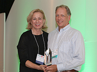 Bea Grause, HANYS President, presented the HANYS 2018 Distinguished Service Award to Stephens M. Mundy, Past President and Chief Executive Officer, University of Vermont Health Network–Champlain Valley Physicians Hospital (CVPH) and UVM Health Network–Alice Hyde Medical Center.