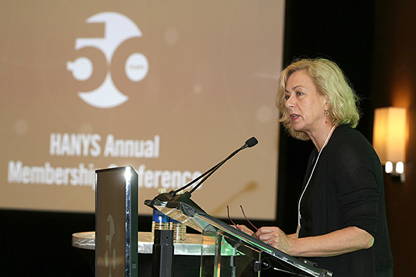 HANYS President Bea Grause addresses members at HANYS' 50th Annual Membership Conference.