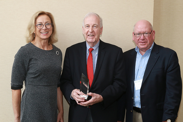 From left: Bea Grause, president, HANYS, HANYS' 2019 Distinguished Service Award honoree Sen. Kemp Hannon and Kevin Dahill, president and CEO, Suburban Hospital Alliance of New York State.