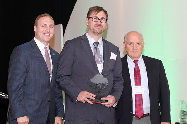 Dr. James Anderson, Medical Director for Behavioral Health and Integrated Services, accepted the Pinnacle Award on behalf of Bassett Healthcare Network; pictured here with Nick Henley, HANYS Vice President of External Affairs (left); and Dr. Robert Panzer, HANYS' Quality Steering Committee Chairman and Associate Vice President for Patient Care Quality and Safety and Chief Quality Officer, Strong Memorial Hospital