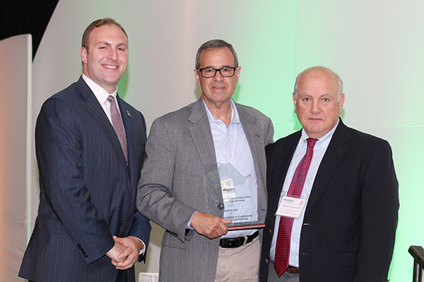 Mark Solazzo, Executive Vice President and Chief Operating Officer, accepted the Pinnacle Award on behalf of Northwell Health; pictured here with Nick Henley, HANYS Vice President of External Affairs (left), and Dr. Robert Panzer, HANYS' Quality Steering Committee Chairman and Associate Vice President for Patient Care Quality and Safety and Chief Quality Officer, Strong Memorial Hospital.